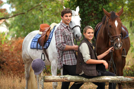 A couple on a horse ride. photo