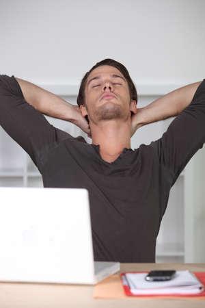parentheses: Man stretching