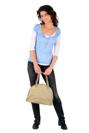 Casual brunette with a handbag photo