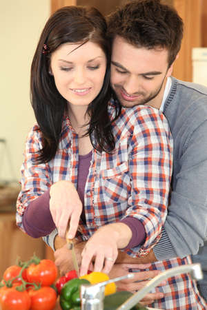 Couple in the kitchen photo