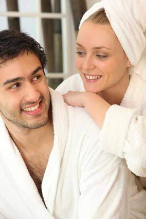 cleansed: Couple relaxing together after a shower Stock Photo