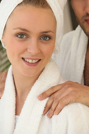 bath gown: blonde woman wearing a dressing gown