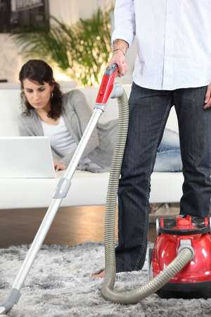 filthiness: sharing out of chores Stock Photo