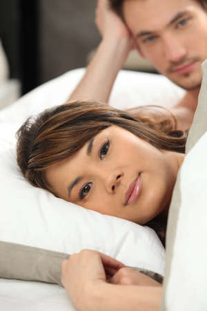 Couple waking up in the morning photo