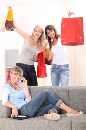 friends with shopping bags Stock Photo - 14027891