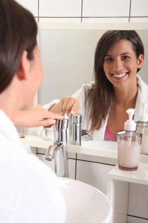 look in mirror: morning hygiene