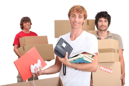 Three housemates moving out Stock Photo - 13957831