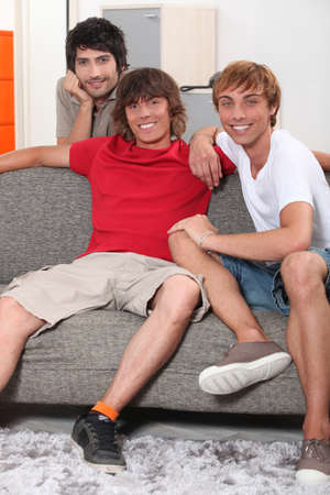 roommates: Young men sharing an apartment together