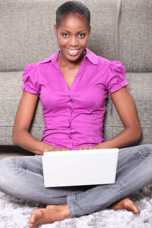 Woman on laptop photo