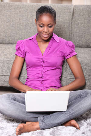 portrait of a woman with laptop photo