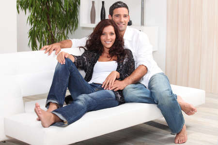 Couple relaxing on a soda Stock Photo - 13958373