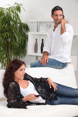 Man and woman at home photo