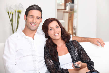 couple watching television Stock Photo - 13958954