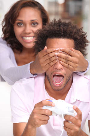 life partner: Girl putting hands over eyes