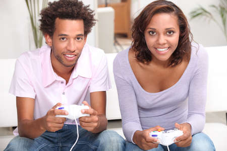 video game: Couple playing computer games