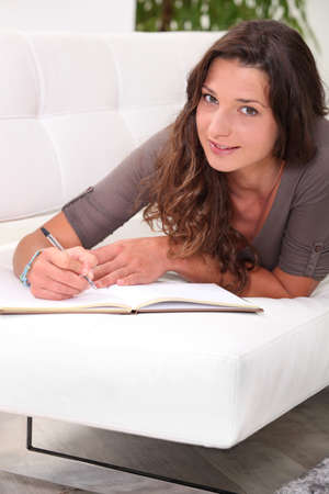 Holding a diary photo