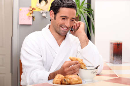 man having breakfast photo