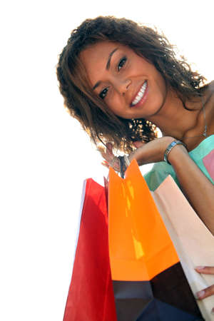 a young black woman with shopping bags photo