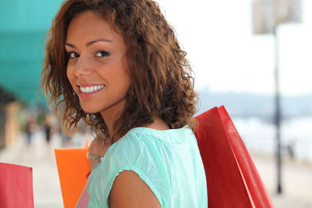 lavish: Woman enjoying lavish shopping trip