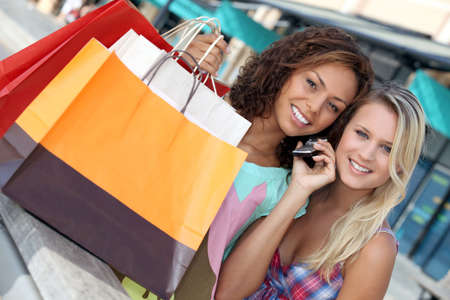 Young women shopping Stock Photo - 14014878