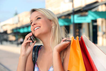 commercial activity: Blonde girl shopping