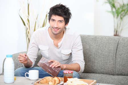 Boy having breakfast Stock Photo - 14011942