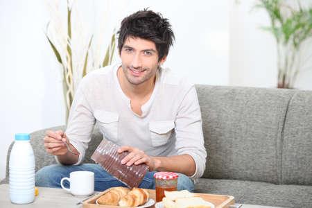 Ni�o de desayunar Foto de archivo - 14011942