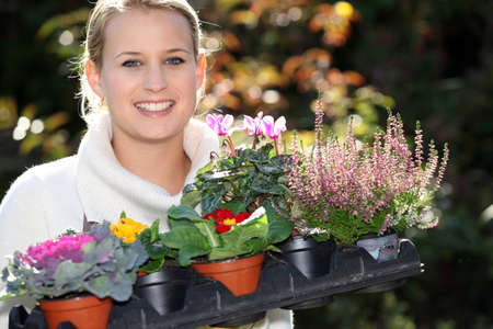 planting season: Young with plants Stock Photo