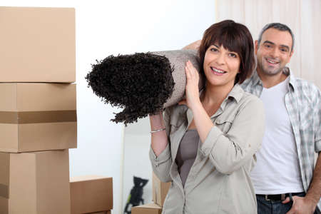 moving out: Couple moving out. Stock Photo