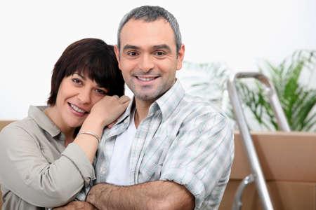 settled: Couple settled in the house