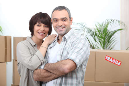 Couple moving into new house Stock Photo - 14012269