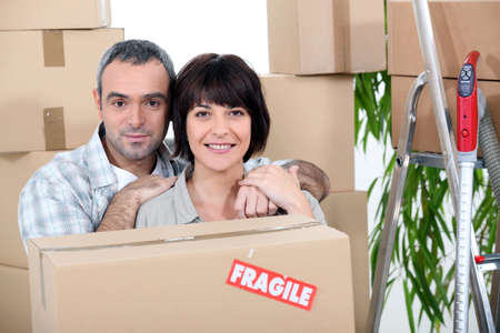 Couple moving into a new home photo