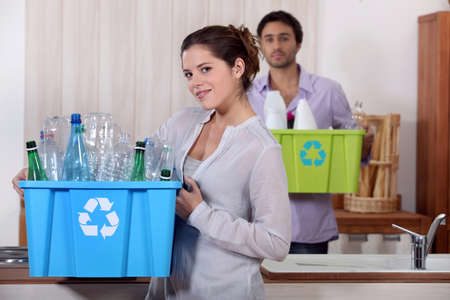 publicity: Recycling plastic bottles Stock Photo