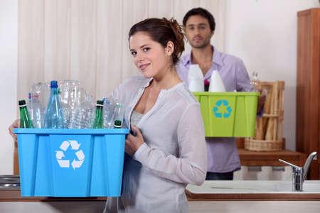 however: Recycling plastic bottles Stock Photo