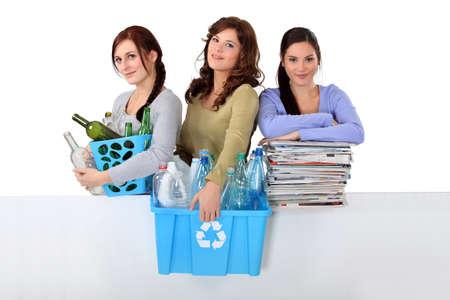 three girlfriends waste sorting photo