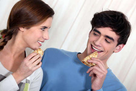 crepes: Couple eating pancakes for breakfast Stock Photo