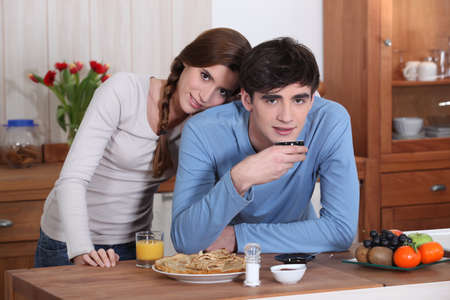 Couple in the kitchen Stock Photo - 13976827