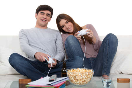 Couple playing video games photo