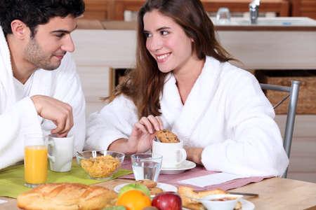 oj: Couple having breakfast together