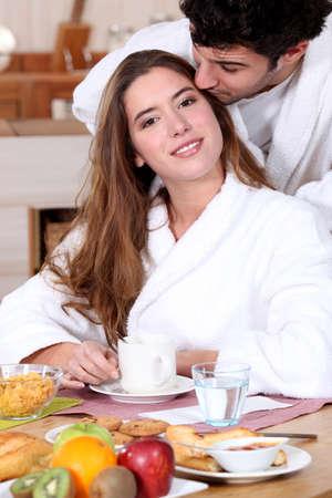 leisurely: Couple having a leisurely breakfast
