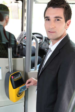 validating: portrait of a man in public transportation Stock Photo