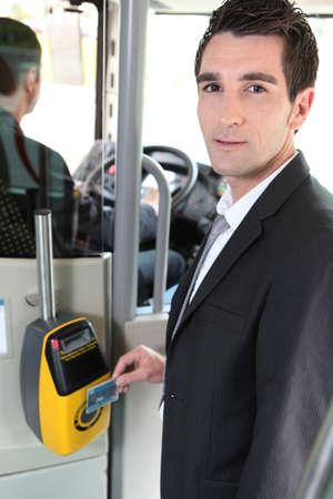fare: portrait of a man in public transportation Stock Photo