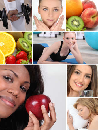 multiple images: Healthy living themed montage