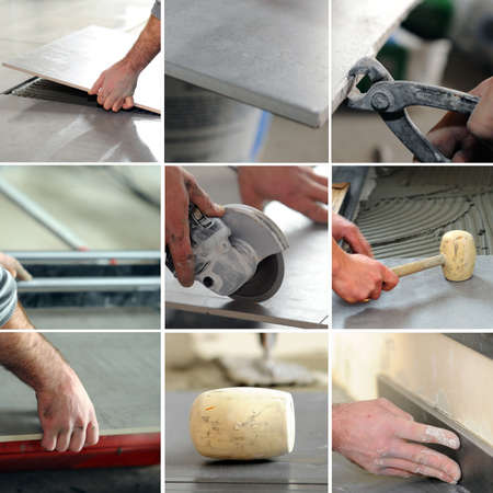 Montage of tiler at work Stock Photo - 14023261