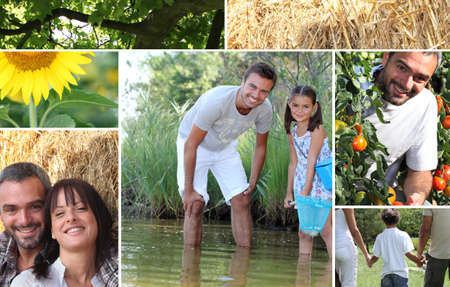 multiple family: Collage illustrating the great outdoors Stock Photo