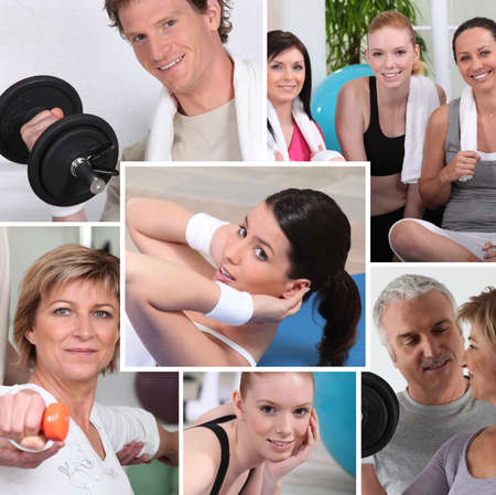 montage: portraits of sporty people Stock Photo