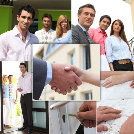 Mosaic of couples viewing property with estate agent photo