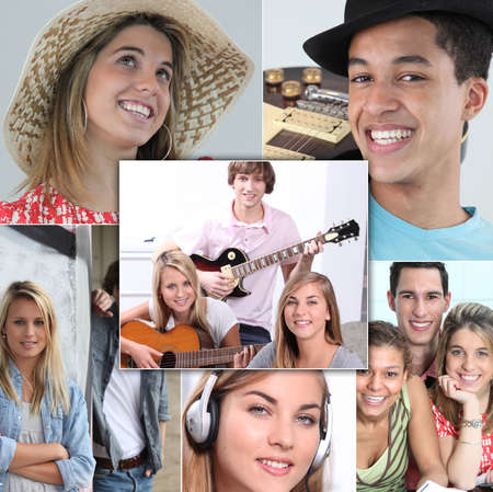 young people smiling and playing guitar, listening music or posing photo