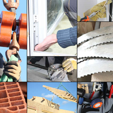 Montage of various aspects of construction photo