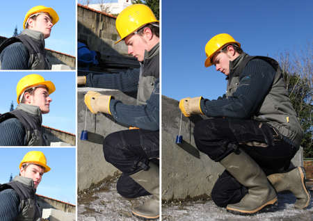 plumb: a workman working with a plumb Stock Photo